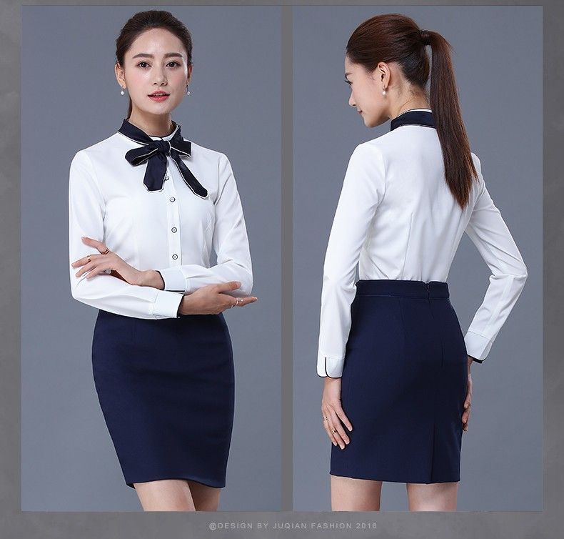 New design stylish formal long sleeve blank office uniform for Office design uniform