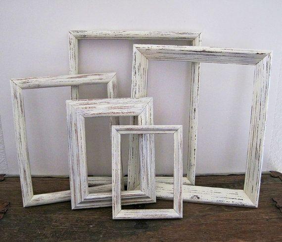 Shabby Chic Picture Frame Set Of 5 White Wall #shabbychic #frames ...