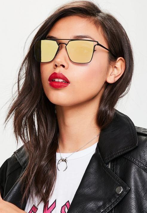7285f1e3594 Missguided Yellow Flat Bar Metal Frame Sunglasses