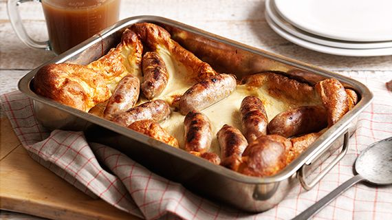 Toad in the hole. A classic British dish – great for all the family! I add lashings of onion gravy using a knorr stock pot as a base