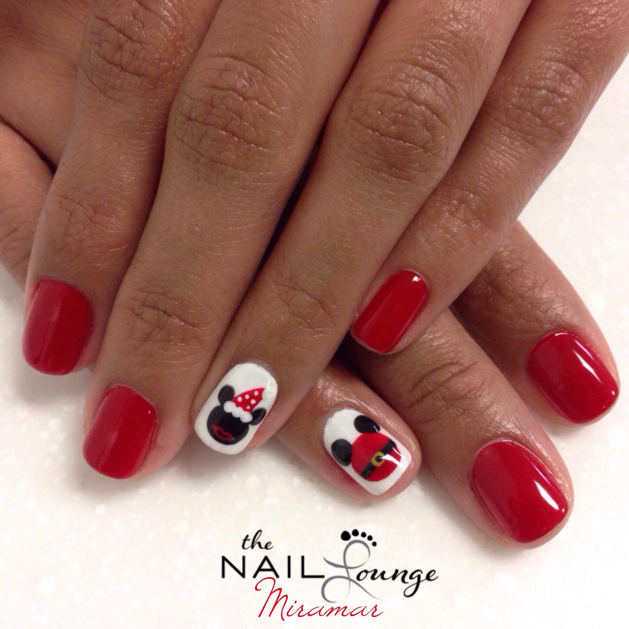 Christmas Nail Art With Gel Polish: Disney Xmas Gel Nail Art @the_nail_lounge_miramar