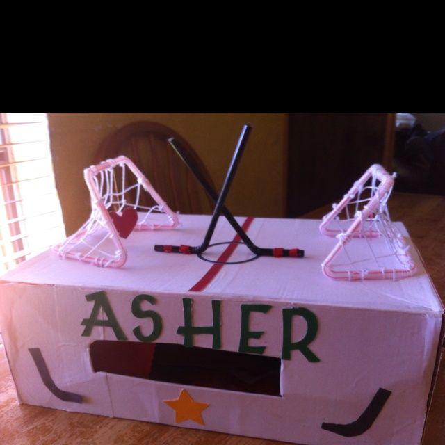 Hockey Valentine Box Ideas | Boy Valentine Box.