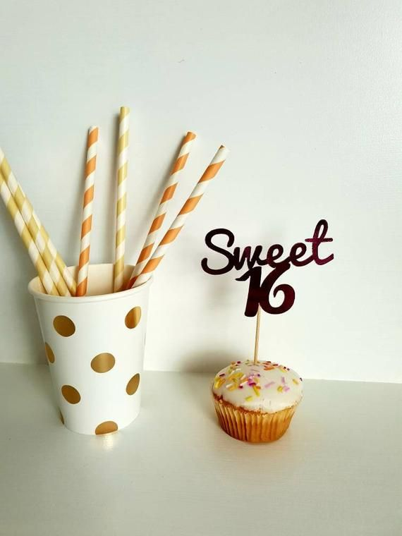 Sweet 16 Cupcake Toppers. Sweet 16 Birthday Party. 16 Today. Sweet 16 Decoration. #sweet16birthdayparty