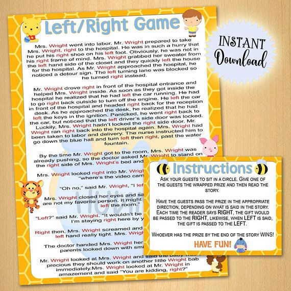 Baby Shower Game Printable Left Right Game Instant Print Pooh