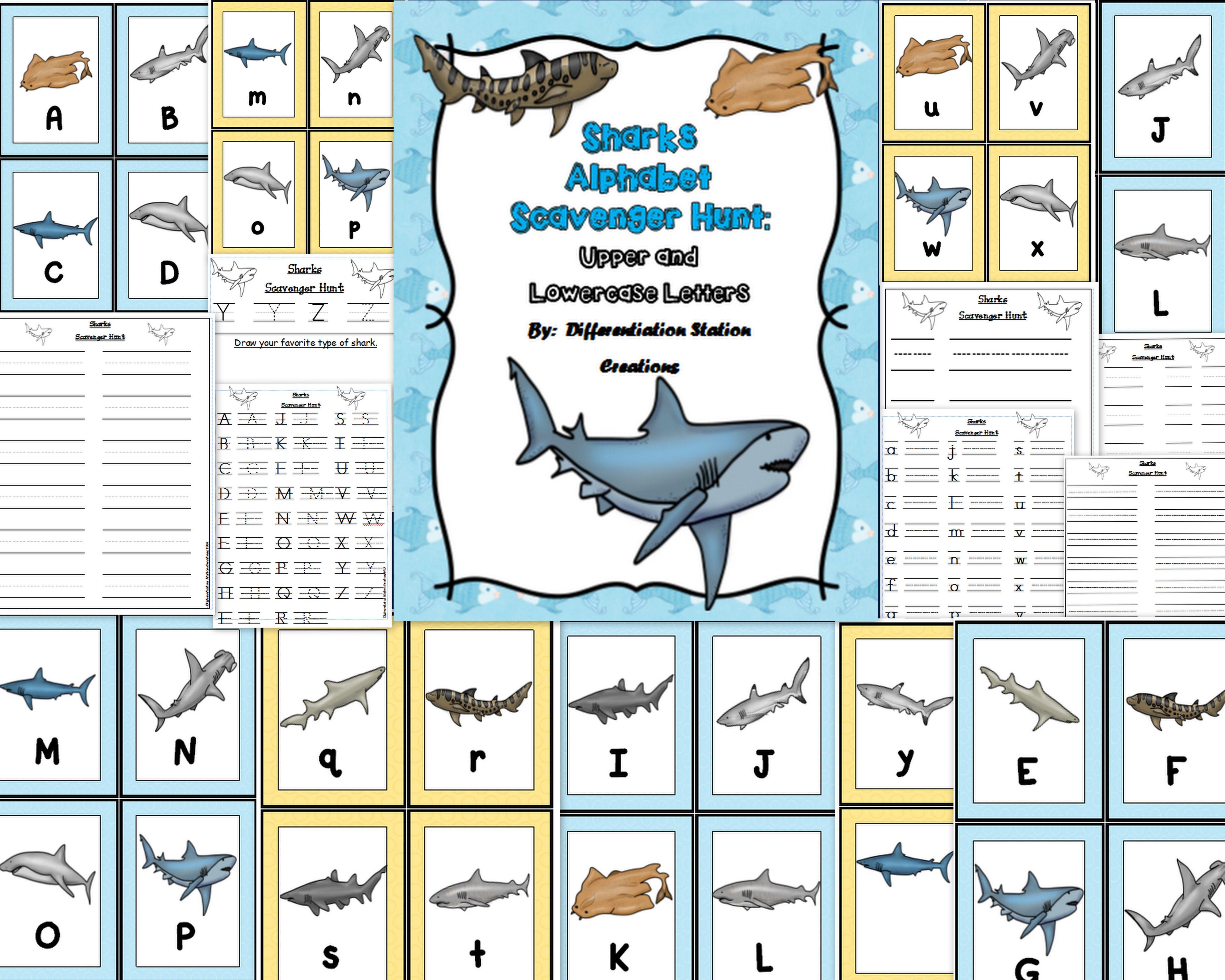 Sharks Alphabet Scavenger Hunt Upper And Lowercase Letters Center Amp Printables