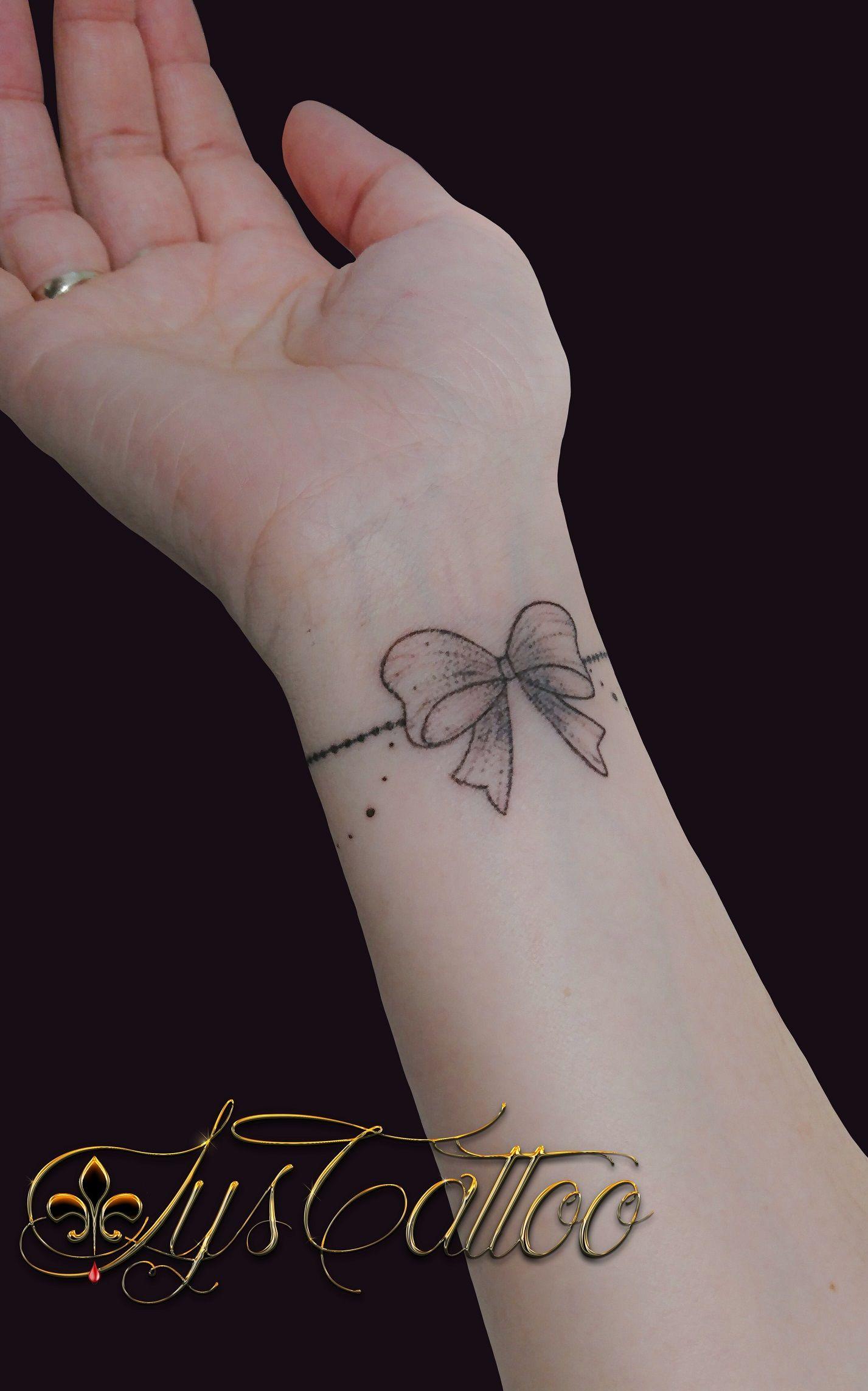 Tatouage Bracelet Femme Bijou Perles Petit Noeud Poignet Feminin
