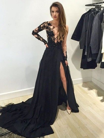 de6a7568d57 Scoop Neck Tulle Court Train Split Front Black Long Sleeve Prom Dress   135.99
