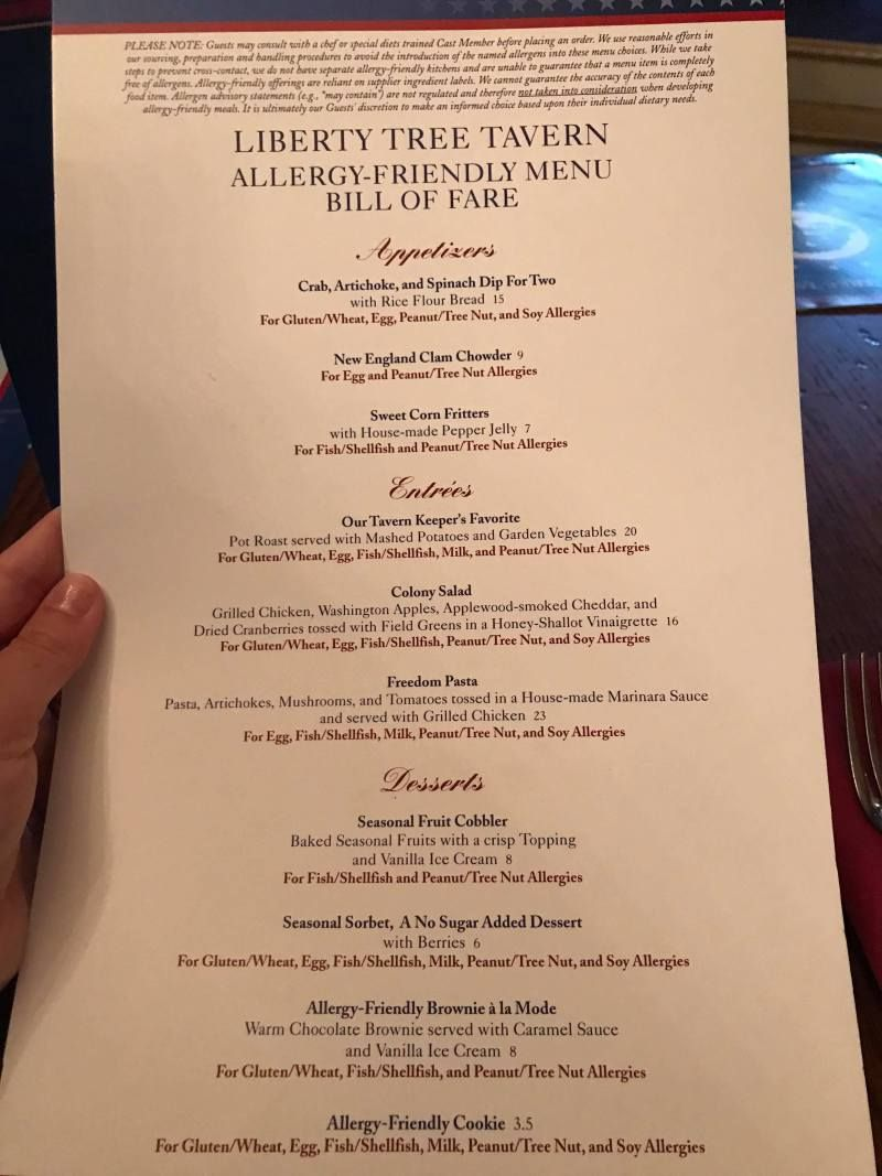 Liberty Tree Tavern Allergy Friendly Lunch Menu In 2020 Liberty