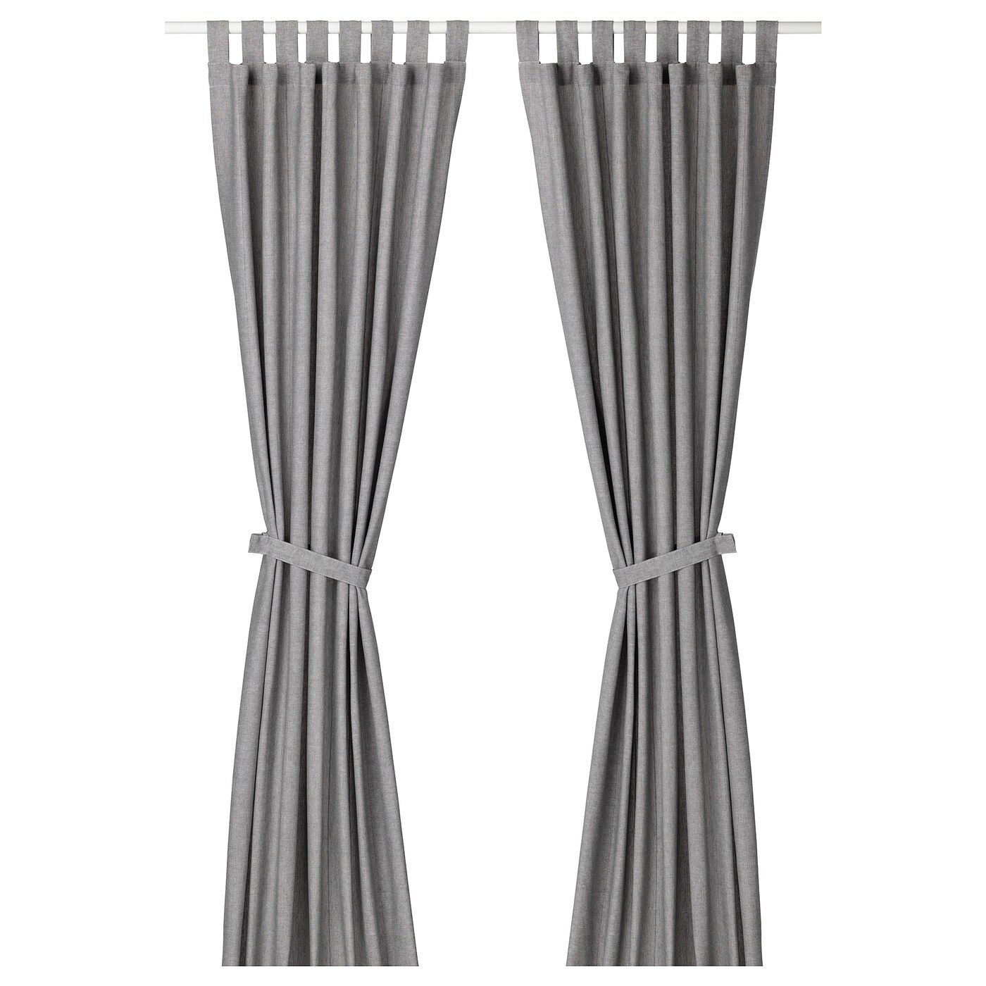 Lenda Curtains With Tie Backs 1 Pair Gray 55x118 In 2020