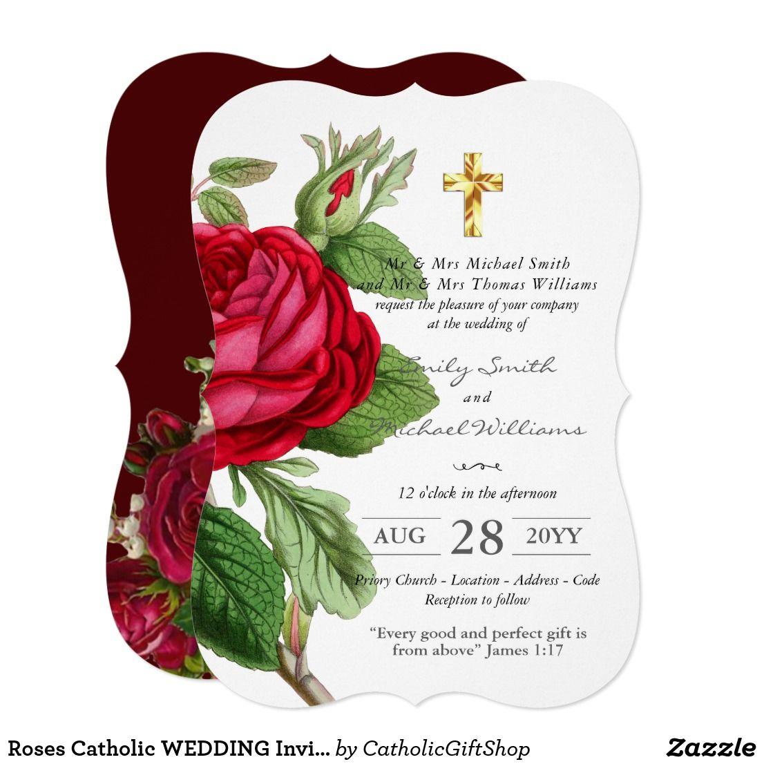 Roses Catholic WEDDING Invitation with verse | Trending Wedding ...