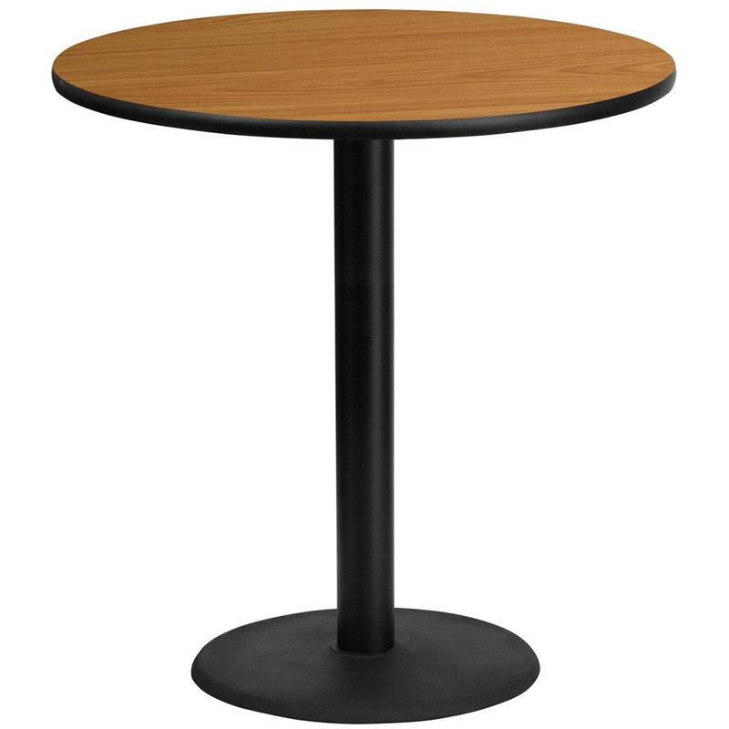 42'' Round Natural Laminate Table Top with 24'' Round Bar Height Table Base. Complete your restaurant, break room or cafeteria with this table top and base configuration. This set is designed for commercial use to withstand the daily rigors in the hospitality industry. This set will also make a great option for your home as a dining table or in the rec room. Whether you are just starting your business or upgrading your furniture this table base will complete the look…