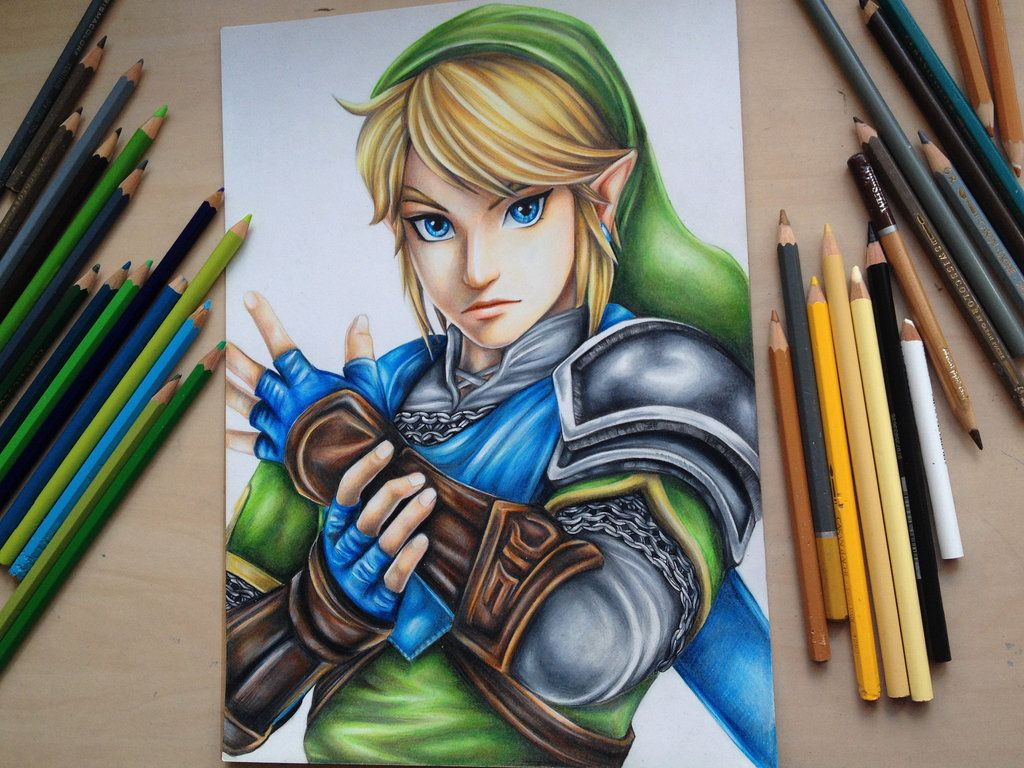 Young Artist Makes Stunning Hyrule Warriors Art Using Just Coloured Pencils Zelda Drawing Zelda Hyrule Warriors Hyrule Warriors