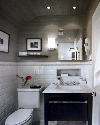 White Subway Tile Marble Mosaic & Sink Top Gray Grasscloth Can Magnificent Small Gray Bathroom 2018