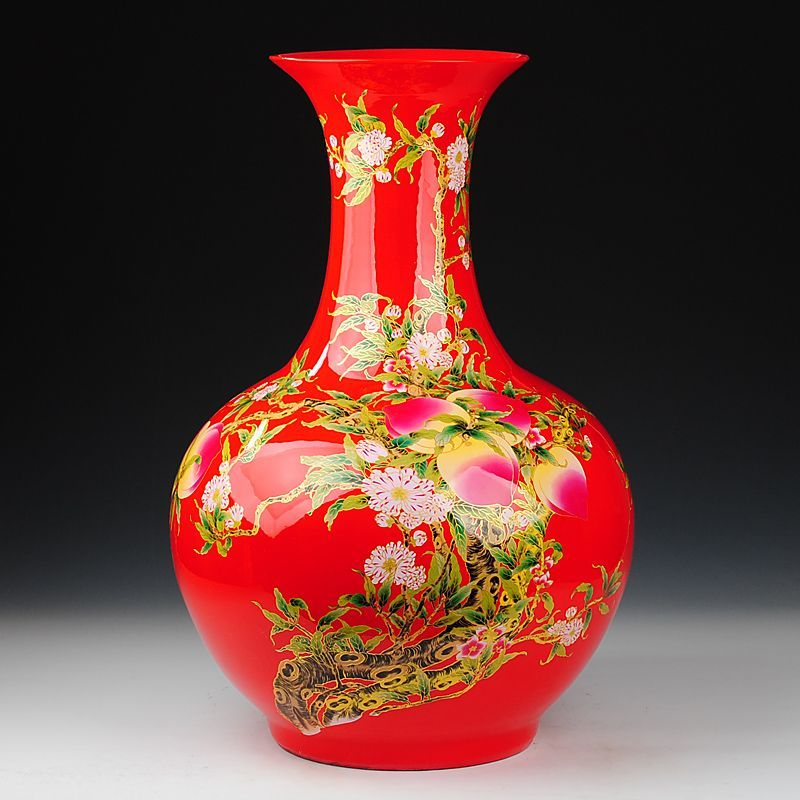 chinese vases floor size with gold handle red
