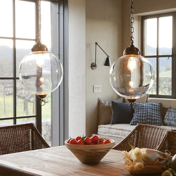 Knottsbury glass globe pendant williams sonoma clear glass for Dining room globe lighting