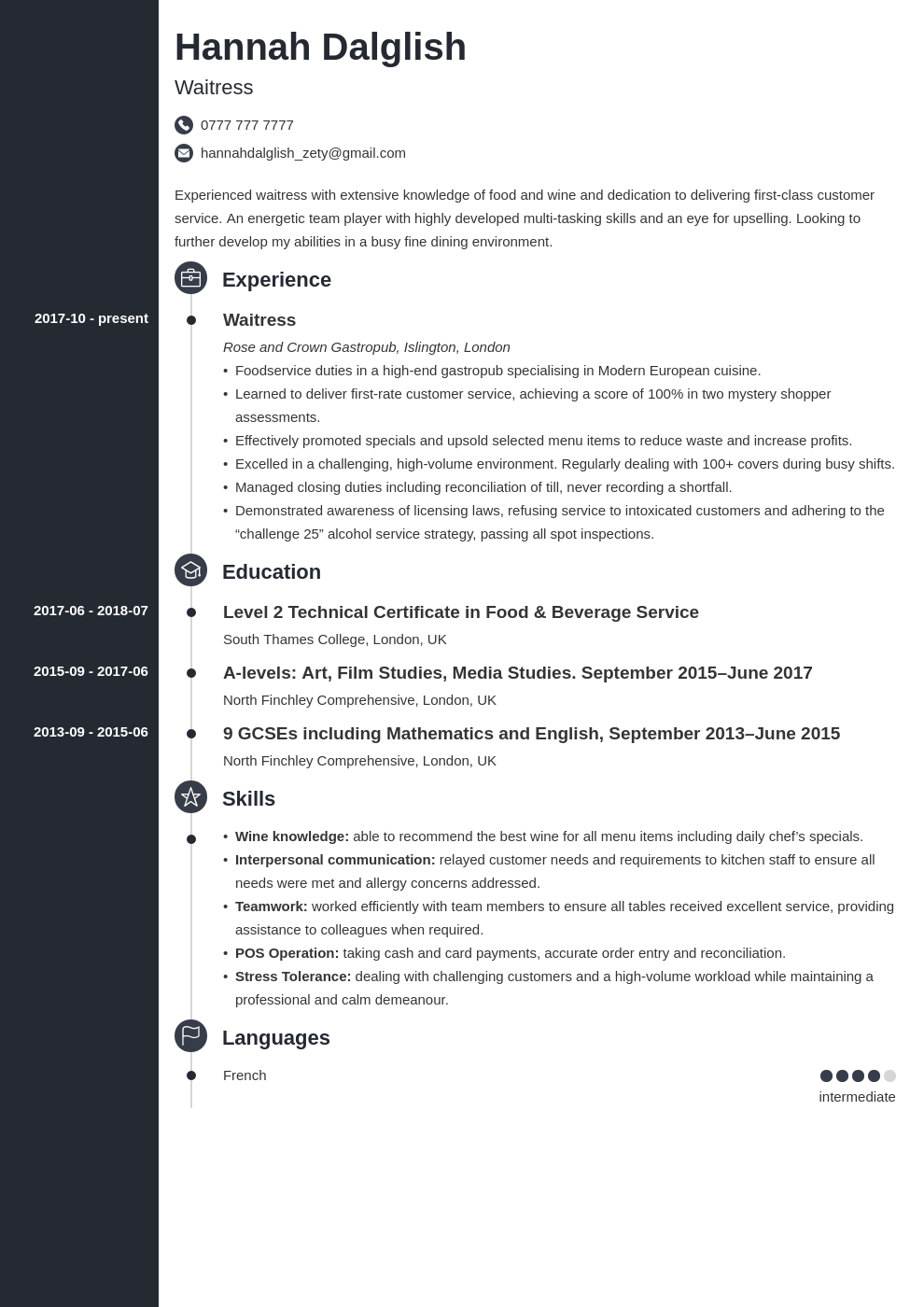 uk waitress cv example template concept in 2020 Cv