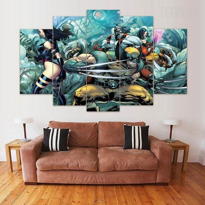 5 Panels X Men Canvas Art Marvel Wolverine X Men Poster Piece Etsy Canvas Painting Deadpool Canvas Art Customized Canvas Art