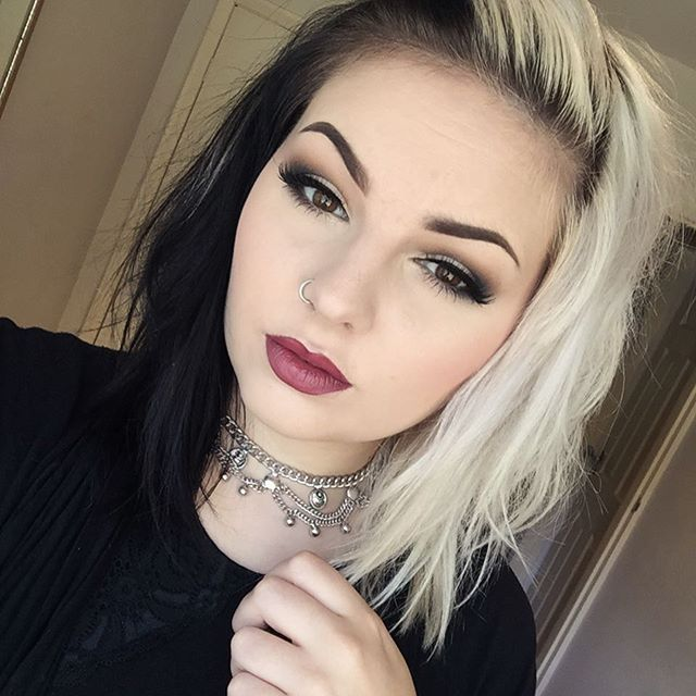 Pin By Brooke Teeple On Hair Inspo Half And Half Hair Half Dyed Hair Split Dyed Hair