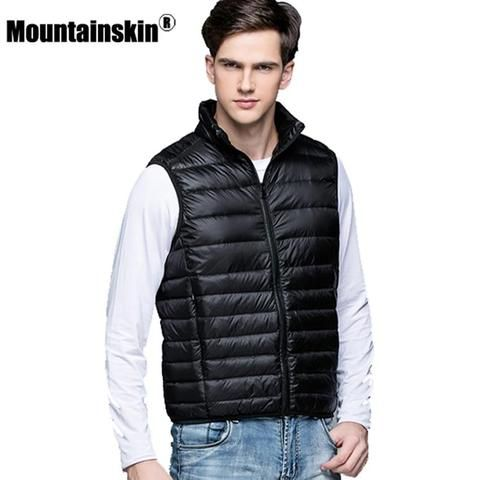 5e3f28dda24 Mountainskin New Men's Warm Ultralight Down Jackets Vests Men Solid ...