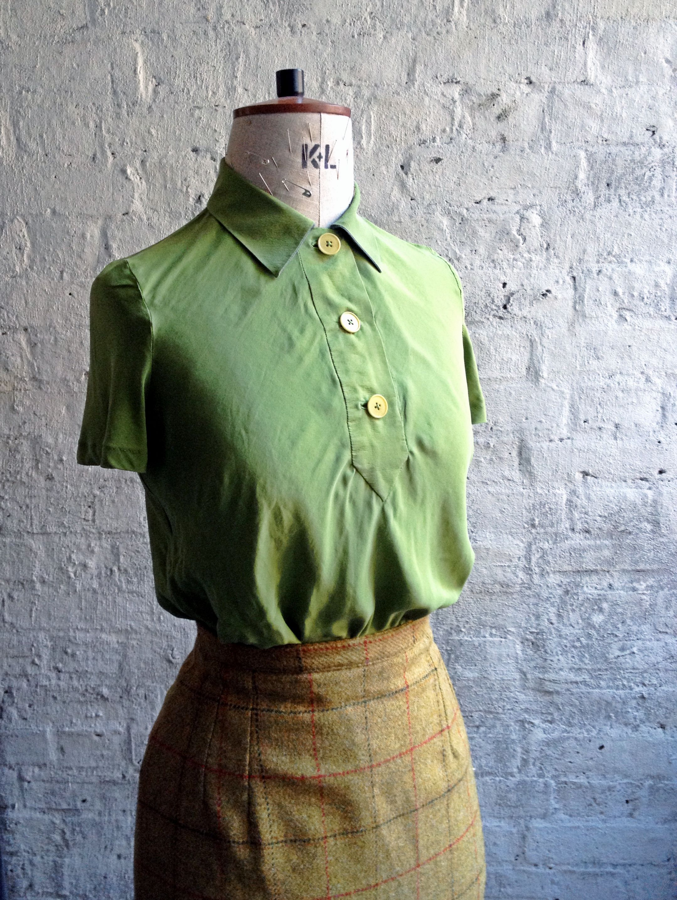 Design based on 1930s pattern. Made in bias cut, green satin backed crepe. Fabric from #clothhouse