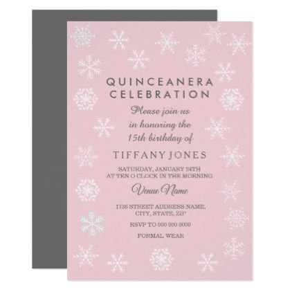 White Snowflake Cute Pink Quinceanera Invitation birthday