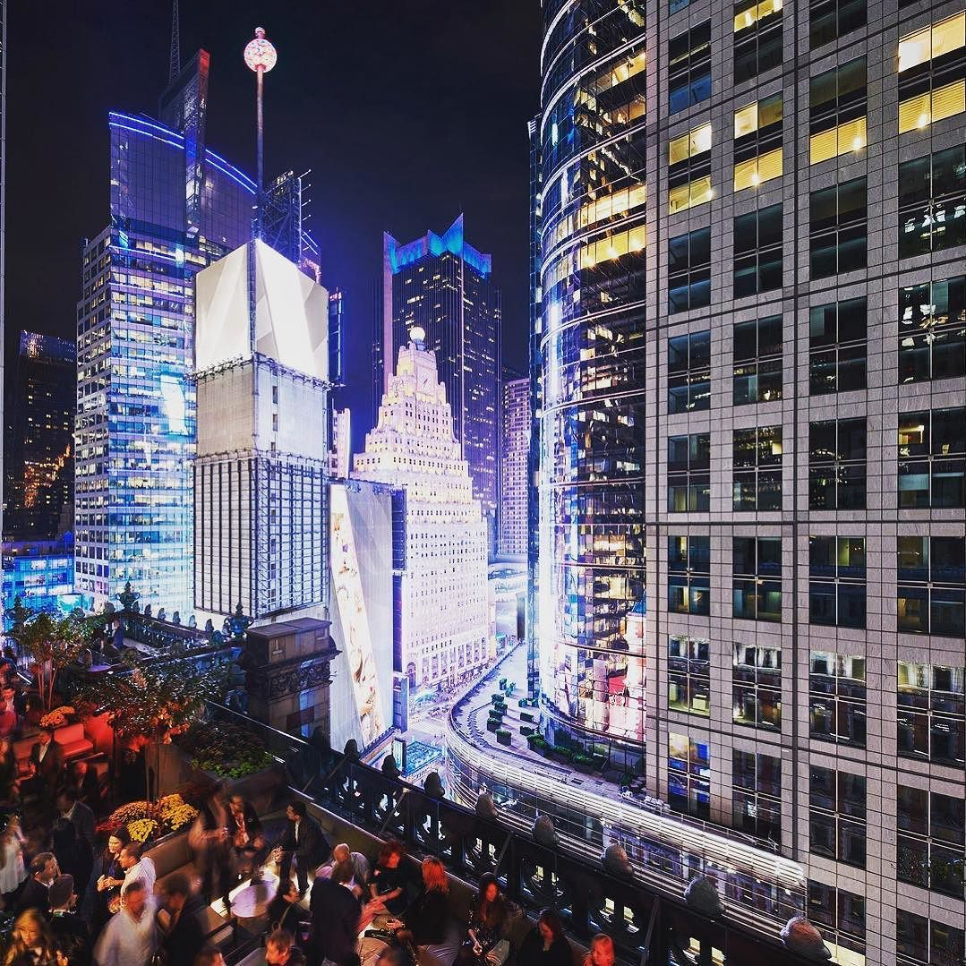 Stunning view from roof top bar in NYC! # ...
