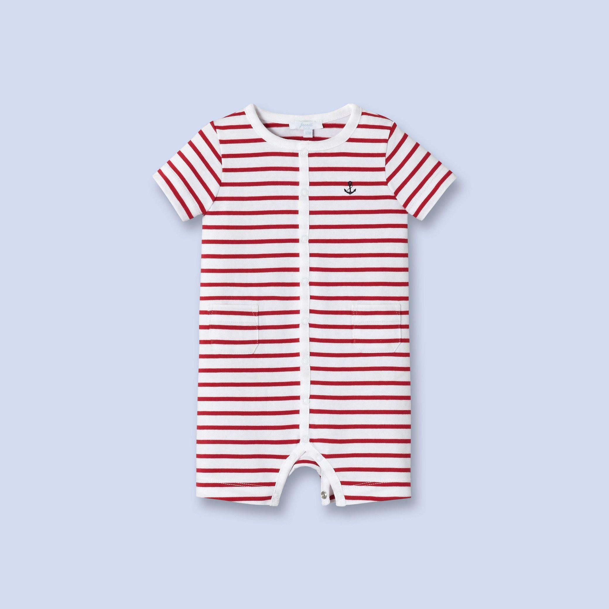 c94afd99d Striped cotton romper - Boy - WHITE RED - Jacadi Paris