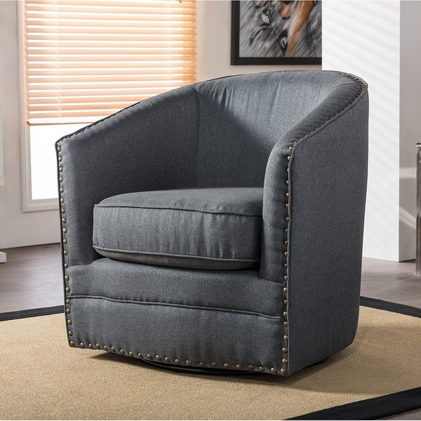 Baxton Studio Porter Contemporary Grey Fabric Upholstered Swivel Tub Chair