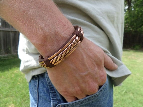 Men's+Leather+and+Copper+Bracelet+Leather+by+ColeTaylorDesigns