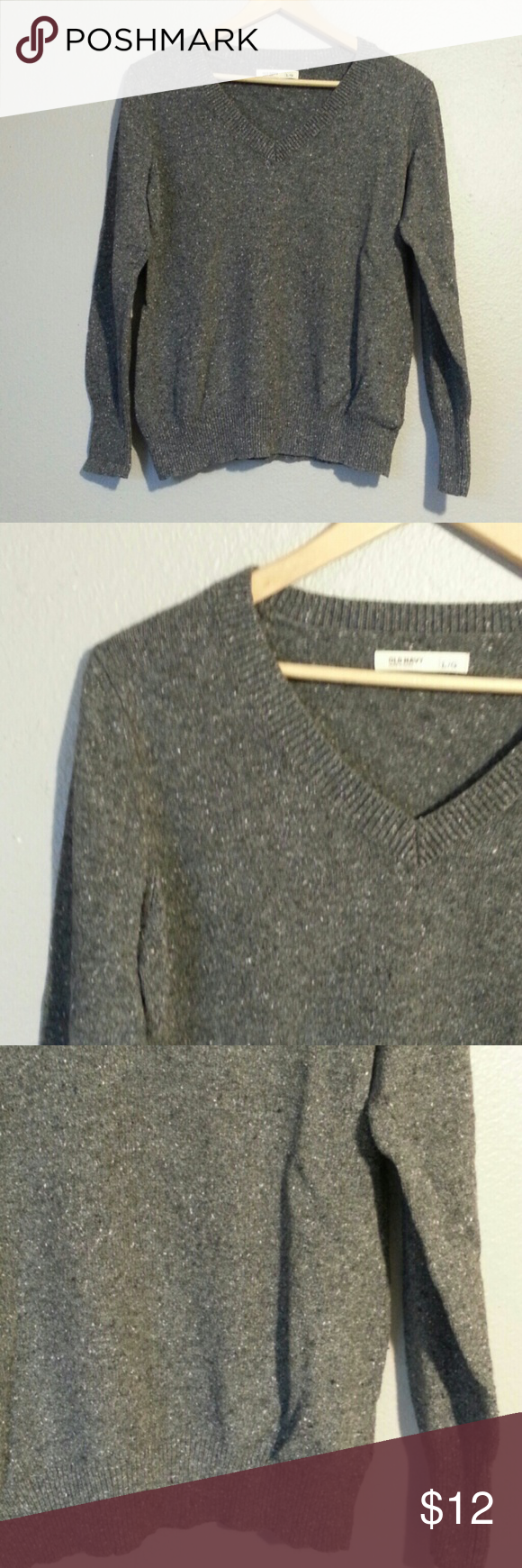 OLD NAVY GRAY SPECKLED V NECK SWEATER SIZE LARGE VERY CUTE GRAY COLOR WITH LITTLE SPECKLED DOTS OF WHITE AND BLACK  HAS A LITTLE BIT OF PILLING Old Navy Sweaters V-Necks