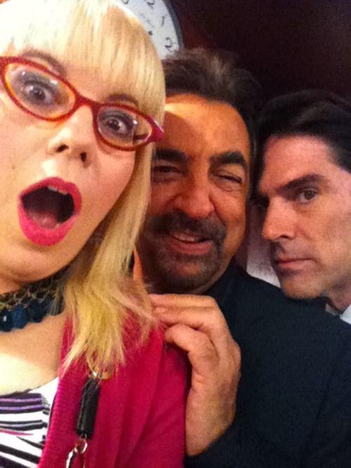 "Kirsten Vangsness, Joe Mantegna & Thomas Gibson on the set of ""Criminal Minds"""