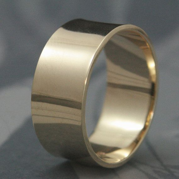 Solid 14k Gold Ultra Wide 10mm Band Mens Wedding Band Flat Etsy Modern Wedding Rings Mens Wedding Bands Rings For Men