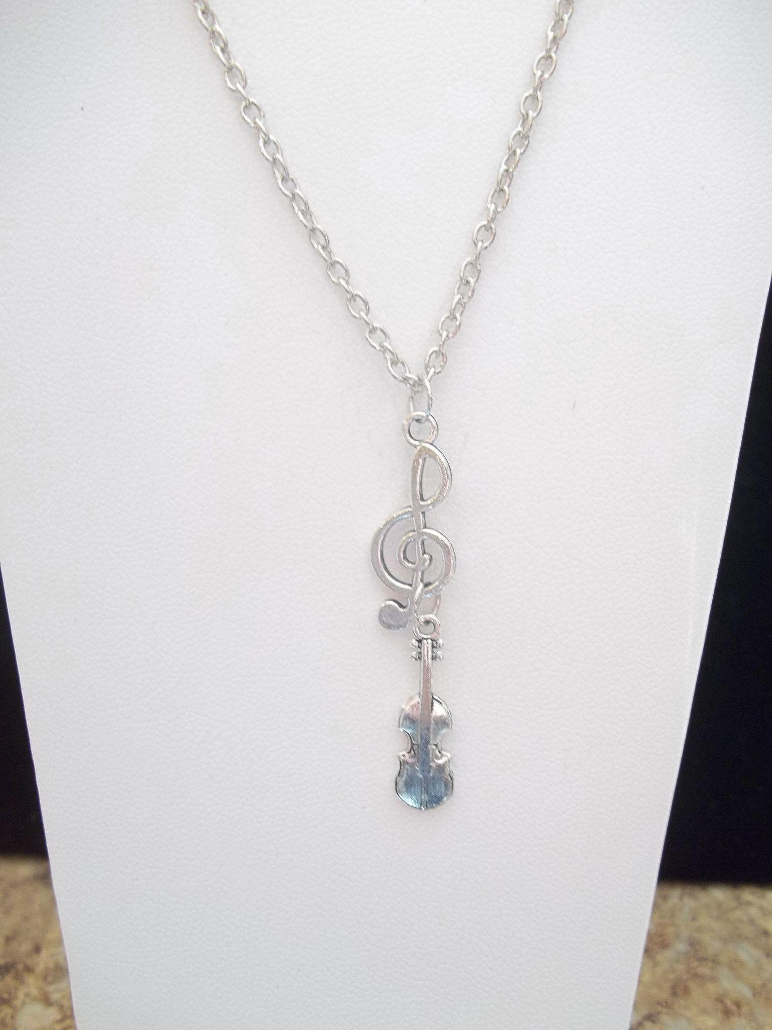 Silver Clef w/Violin Necklace