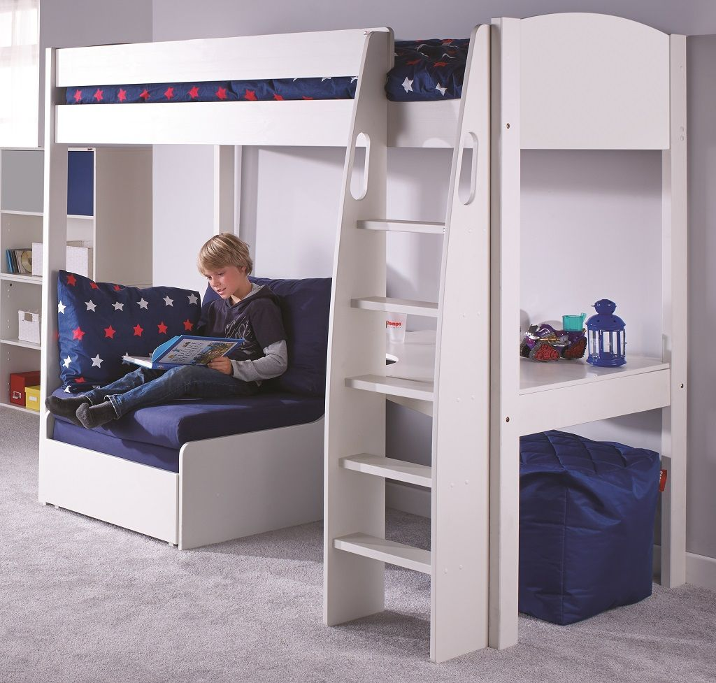 The Stompa Highsleeper Is A Stylish Bed With Desk And Chair Finished In Solid White Choice Of Headboard Colour
