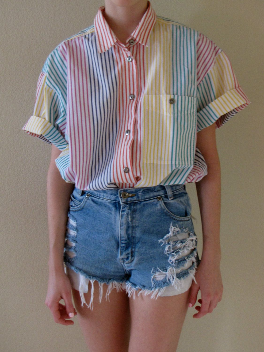 80s 90s Pastel Rainbow Pinstripe Short Sleeve Button Down Shirt ...