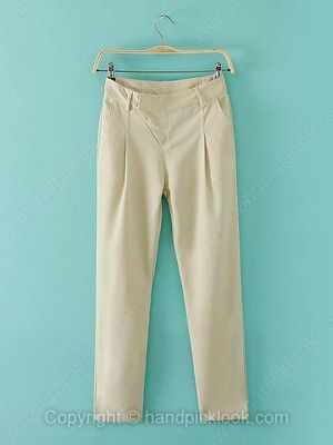 Beige Zipper Fly Pockets Casual Pant -$22.89