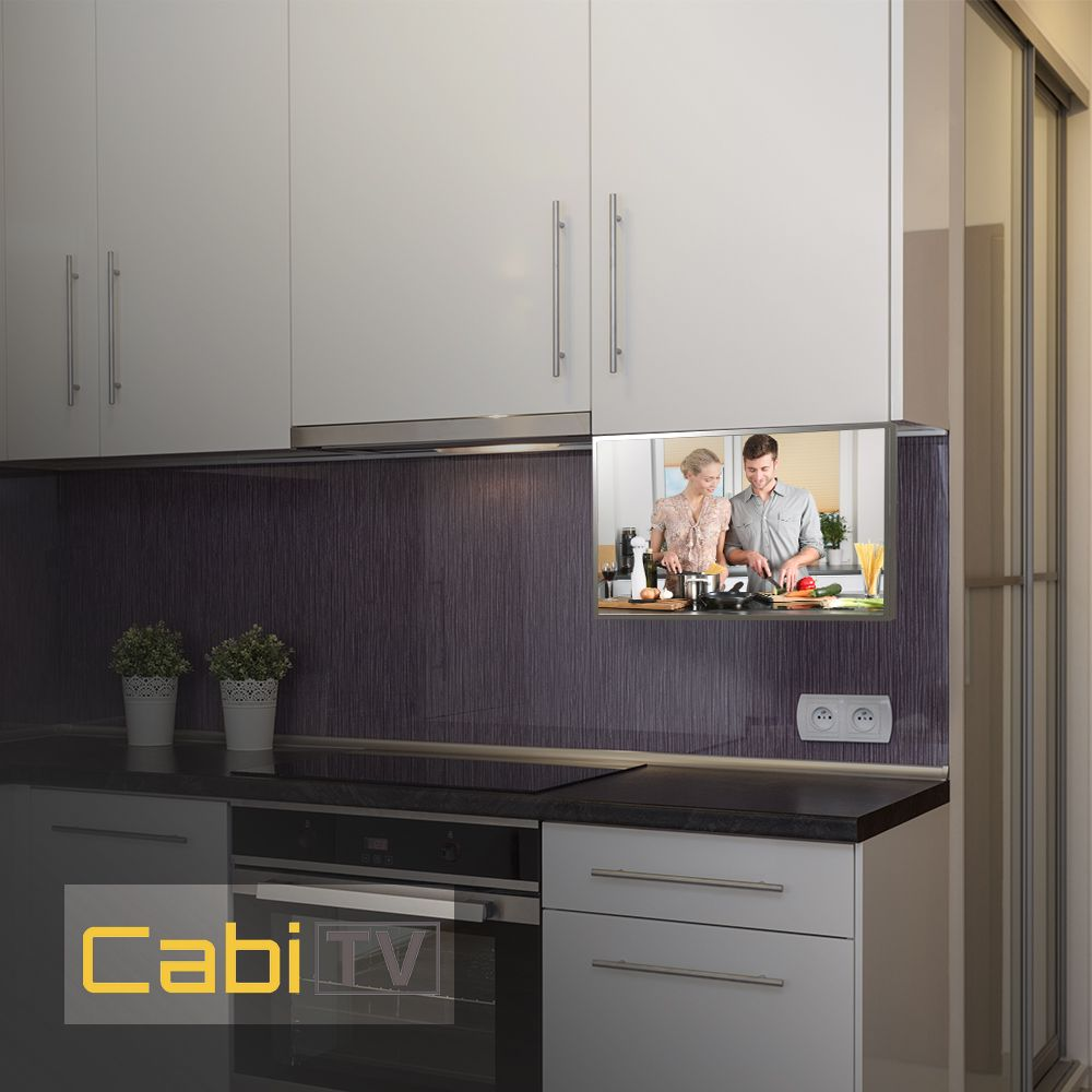 Who Says Under The Cabinet Tvs Are Dead Our Cabi Tv Says Hi With It S Timeless Stainless Steel Design That Wil Tv In Kitchen Under Cabinet Tv Tv In Bathroom