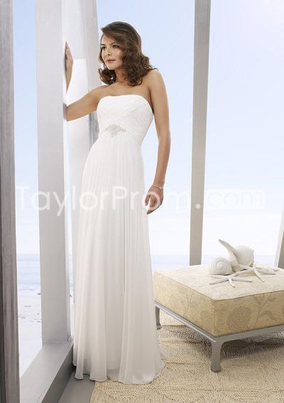 beach wedding dresses empire column floor length