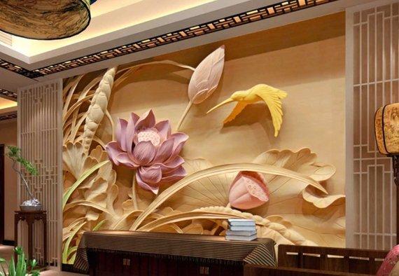 3D Embossed Floral Wallpaper Vintage Lotus Flower Wall Mural Retro