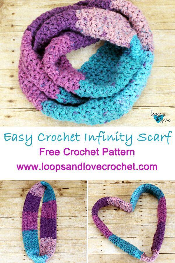 Easy V Stitch Infinity Scarf Crochet Scarves Shawls Cowls