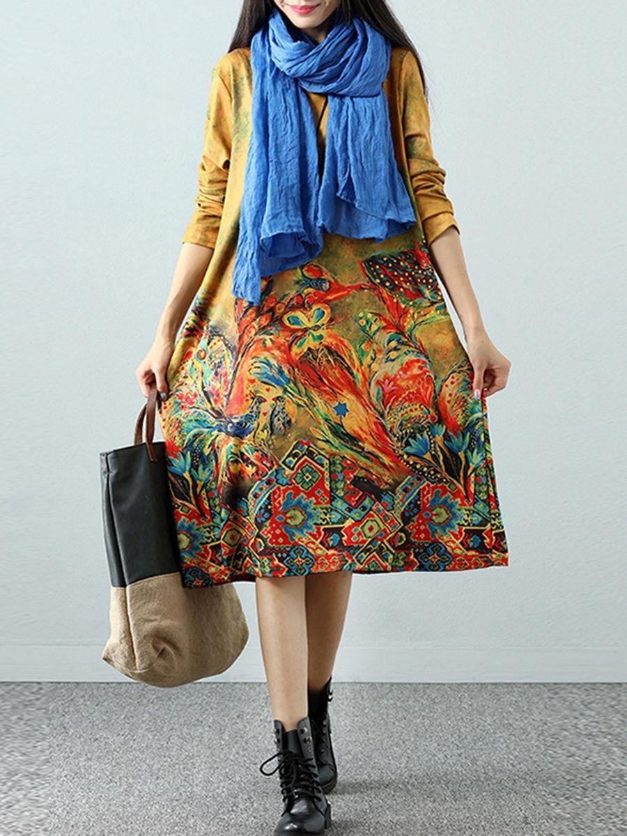 Fashionmia fashionmia round neck printed cotton maxi dress