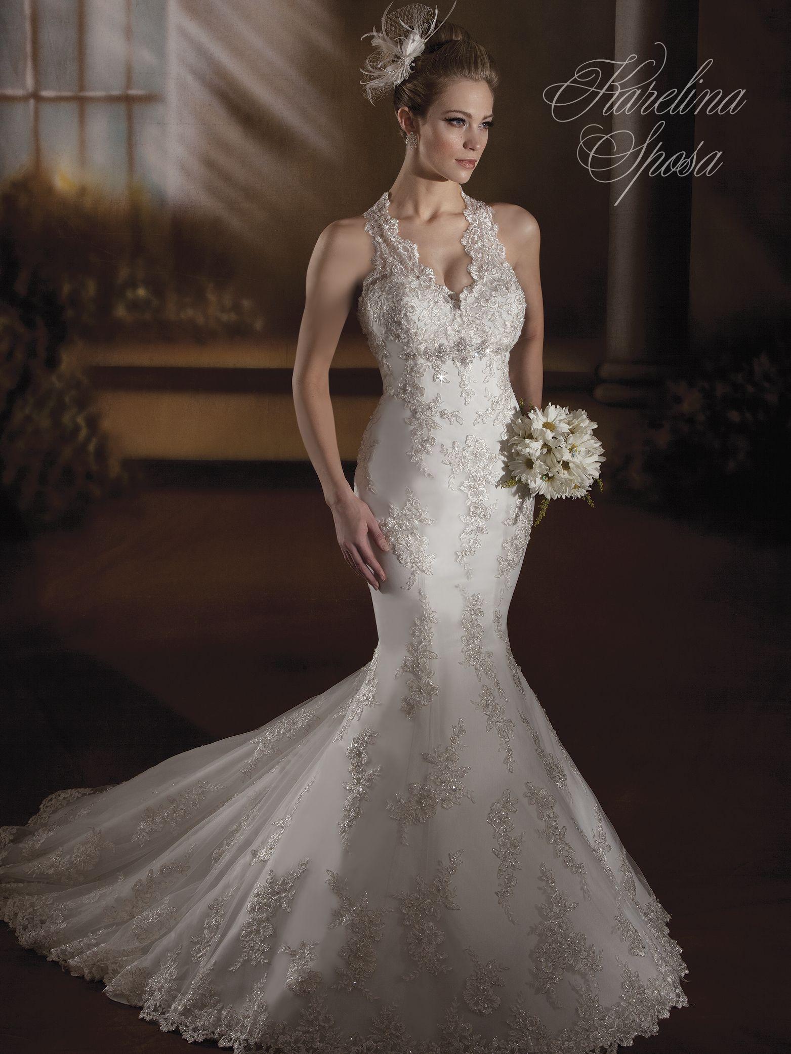Karelina sposa style c7872 french tulle v neck halter for French style wedding dresses