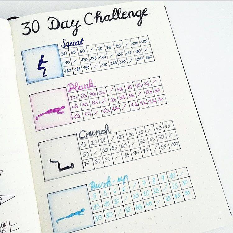 """Photo of Inspiration für das Bullet Journal auf Instagram: """"Die 30-Tage-Herausforderung! Ich habe diese Herausforderung vor einiger Zeit gesehen und beschlossen, dass es eine großartige Übung wäre, sie in meinem Bujo zu verfolgen! Das ist eigentlich ein… """""""