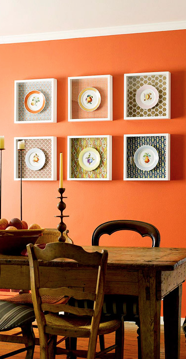 combine two types of wall art shadowboxes and plates for a distinctive way to dress up a on kitchen decor paintings prints id=47495