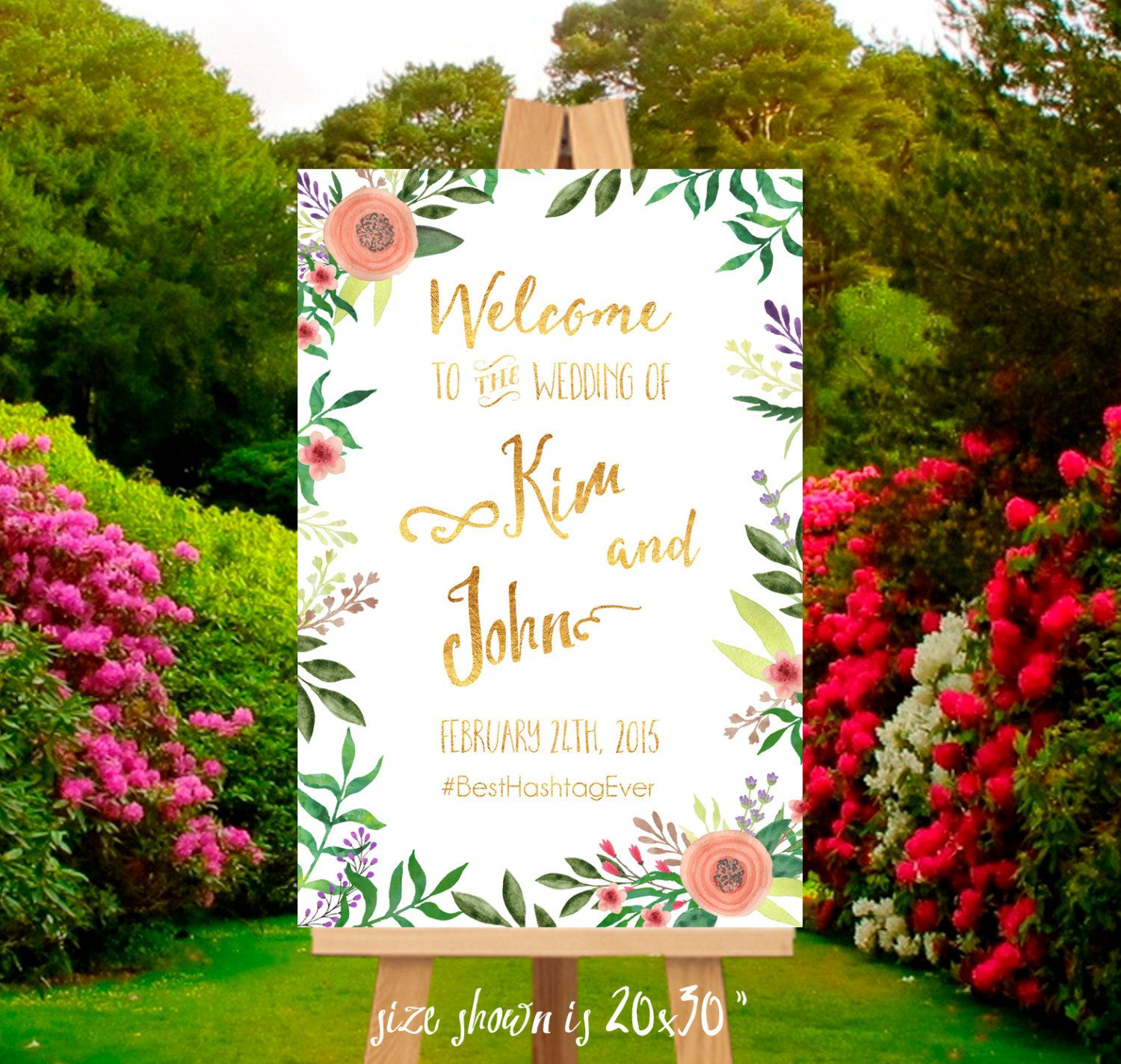 printable welcome wedding sign digital file flowers and gold foil