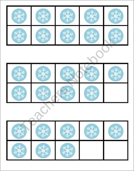 Snowflake 10 Frame Flashcards ~ Common Core ~ Ten Frame | PreK-2nd ...