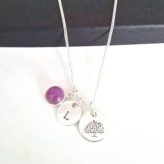 Amethyst necklace pendant tree of life necklace initial pendant amethyst necklace pendant tree of life necklace initial pendant personalised necklace minimalist necklace wife gifts for aloadofball Choice Image