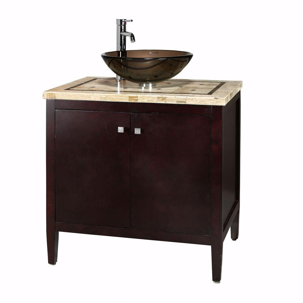 Home Decorators Collection Argonne 31 In W X 22 In D Bath Vanity In Espresso With Marble Vanity Top In Brown With Glass Sink 0322110820 The Home Depot Home Depot Bathroom