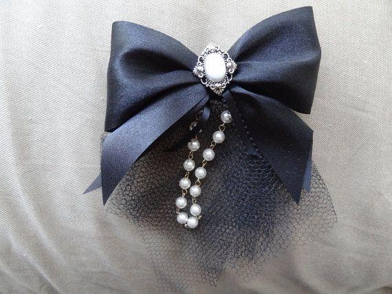 Decorative Black Ribbon French Barrette by jaymangosteen on Etsy, $15.00