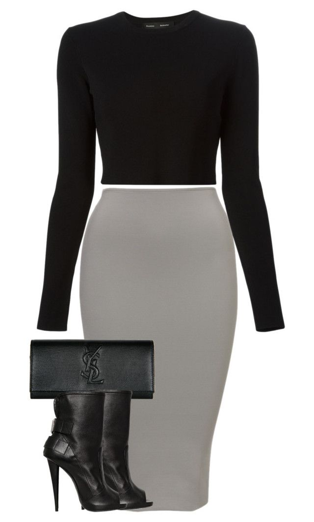 """""""Untitled#72"""" by marinaisaac ❤ liked on Polyvore featuring Proenza Schouler, Yves Saint Laurent and Giuseppe Zanotti"""